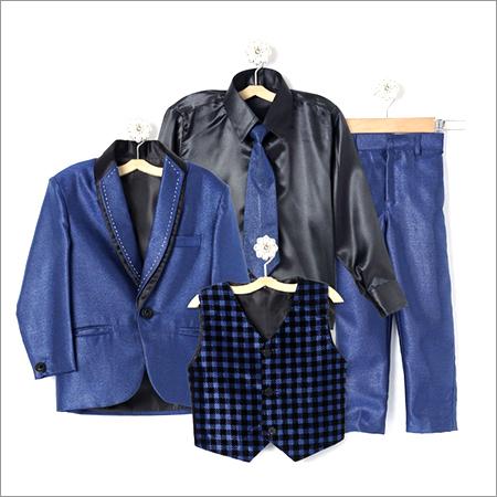 Blue Coat Suit With Shirt Blazer Waistcoat Tie And Pant Set