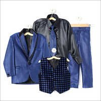 Blue Coat Suit With Shirt Blazer Waistcoat Tie And Pant Set