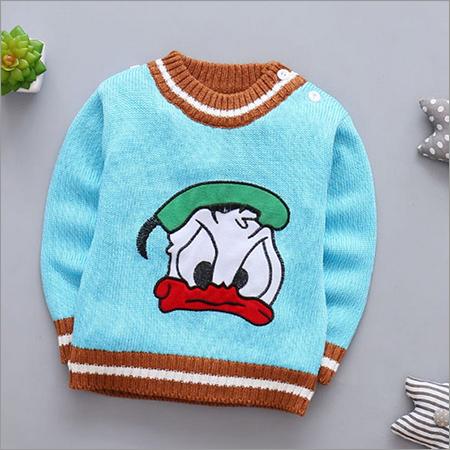 Cartoon Print Cute Blue Full Sleeve Sweater