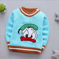 Cartoon Print Cute Blue Full Sleeve Sweater