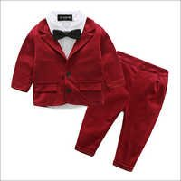 Classy Shirt With Red Blazer Bow And Pant Set