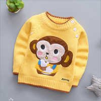 Monkey Applique Yellow Full Sleeve Sweater