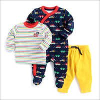 Multicolour T-Shirt With Footie And Bottom Set