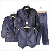 Navy Coat Suit With Shirt Blazer Waistcoat Tie And Pant Set