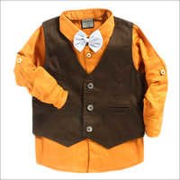 Orange Party Shirt With Waist Coat And Bow Tie