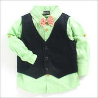 Parrot Green Party Shirt With Waist Coat And Bow Tie