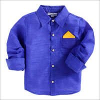 Royal Blue Party Wear Print Full Sleeves Shirt