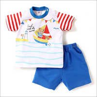 Sail With The Wind Print Red And Blue T-Shirt And Shorts Set