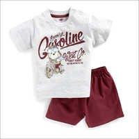 Teddy Bear Print Maroon T-Shirt And Shorts Set