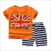 Trendy Orange Printed T-Shirt And Shorts Set