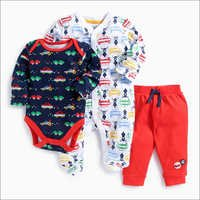 Vehicle Print Onesies With Footies And Bottom Set