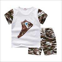 White T-Shirt And Camouflage Shorts Set