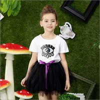 Adorable Sequined Eye Embellished Tutu Set