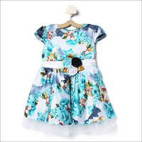Allover Printed Dress With Attached Flower - Blue