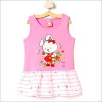Bunny Print Pink Casual Dress
