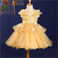 Classic Yellow Applique Dress