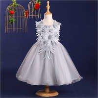 Stylish Gray Applique Dress