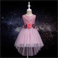 Stylish Pink Applique Sleeveless Dress