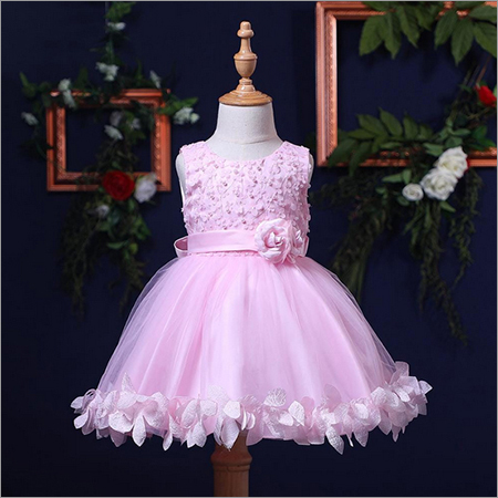 Sweet Dainty Flowers Applique Party Dress - Pink