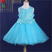 Trendy Blue Applique Dress
