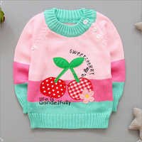 Trendy Fruit Applique Pink Full Sleeve Sweater
