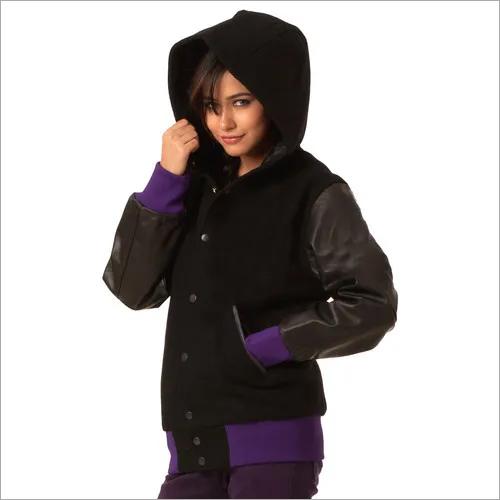Wool Leather Hoodie Varsity Jackets
