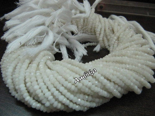 Natural White Agate Rondelle Faceted Beads