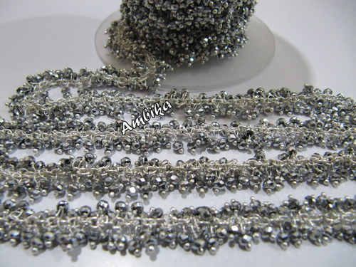 Silver Beaded Stone Chain