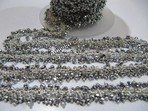 Pyrite Silver Plated Hydro Quartz Dangling Chain