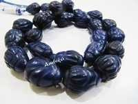 Dyed Blue Sapphire Hand Carved Drop Shape Beads