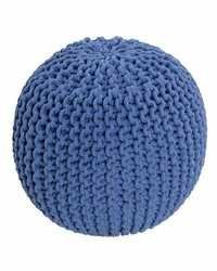 Blue Round Pouffe