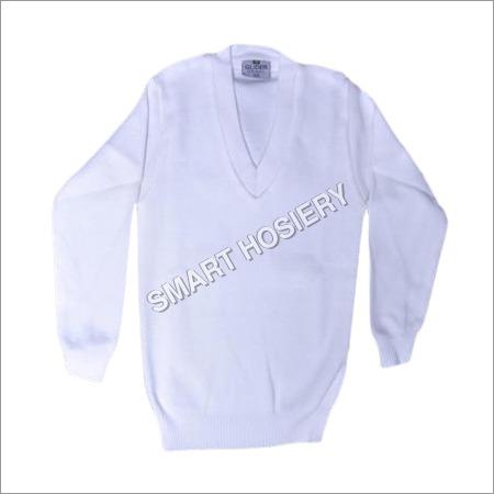 V-Neck White Pullover