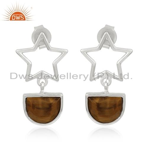 Star Charm Fine Silver Gemstone Earring