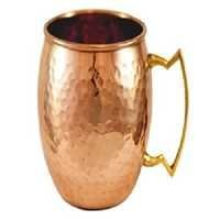 Hammered Barrel Shape Copper Mug with Nickel Lining