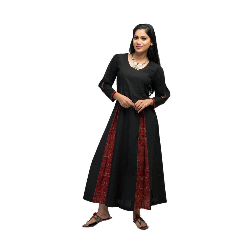 Ladies Black Long Dress with Ajrak Pinted Kali Front
