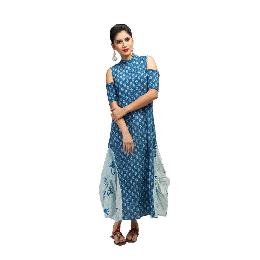 Ladies Cold Shoulder Long Indigo Dress Front