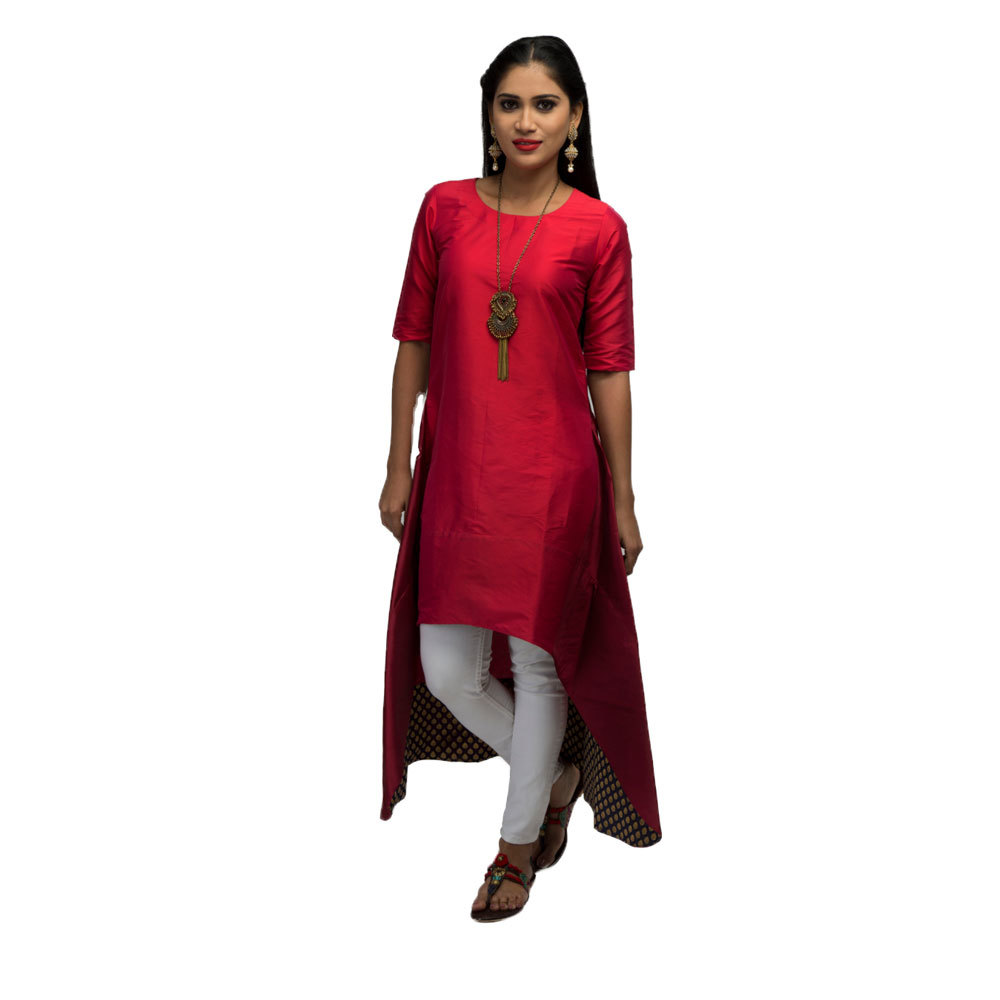 Ladies Festive Colour Block Tunic Front