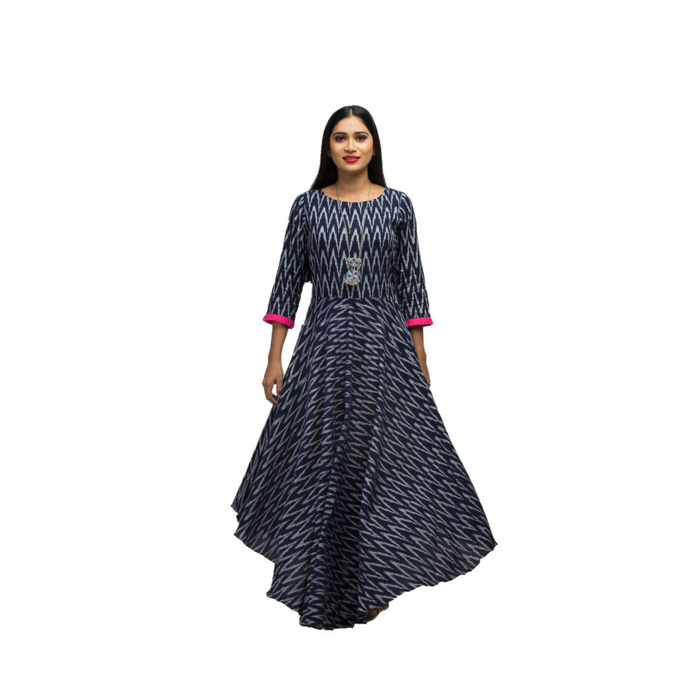 Ladies Floor Length Ikat Assymetrical Front