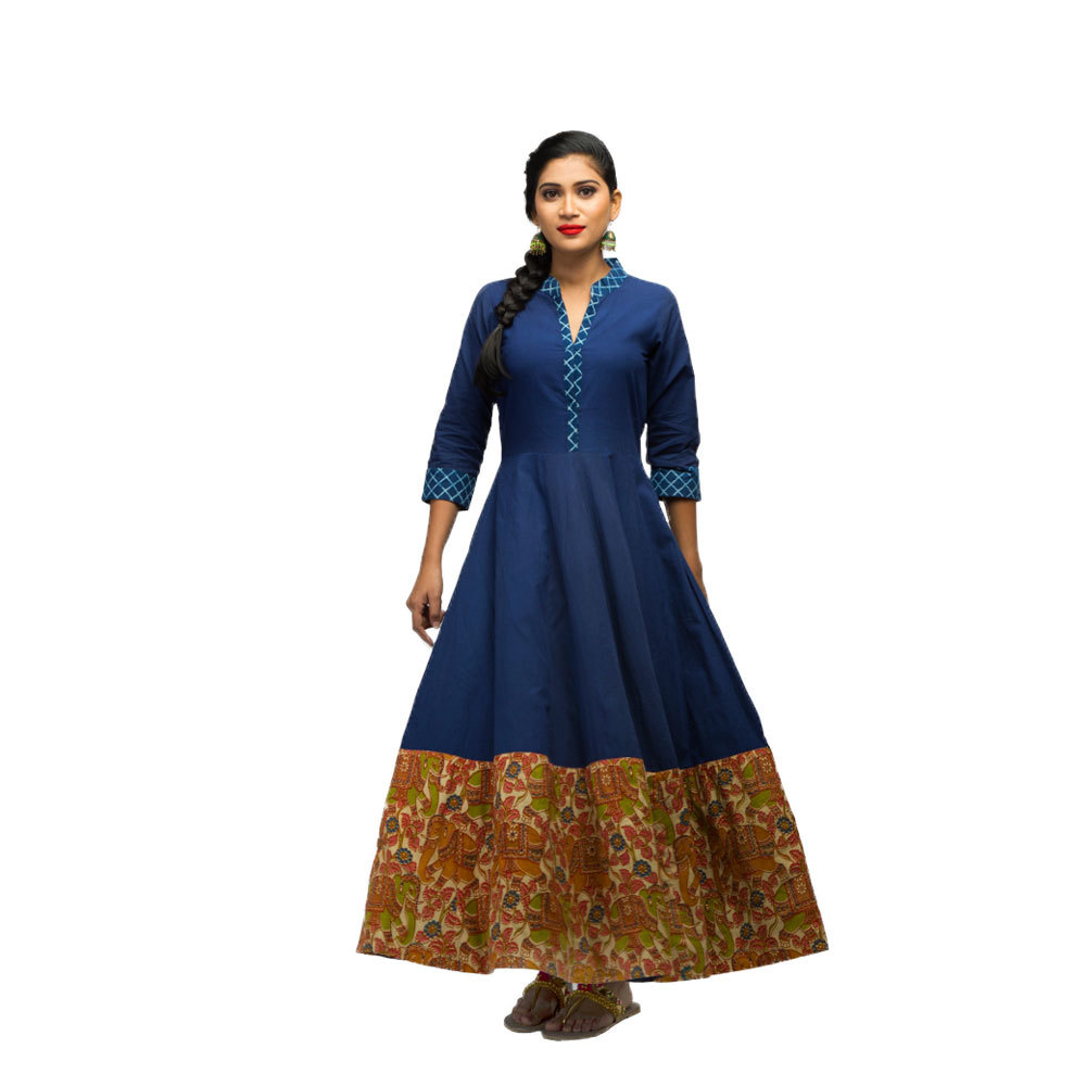Ladies Floor Length Indigo Cotton Dress Front