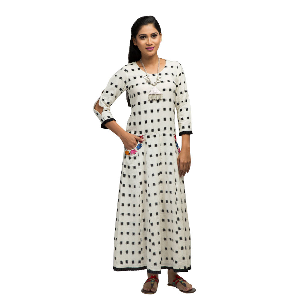 Ladies Ikat Long Dress With Embroidered Pockets Front