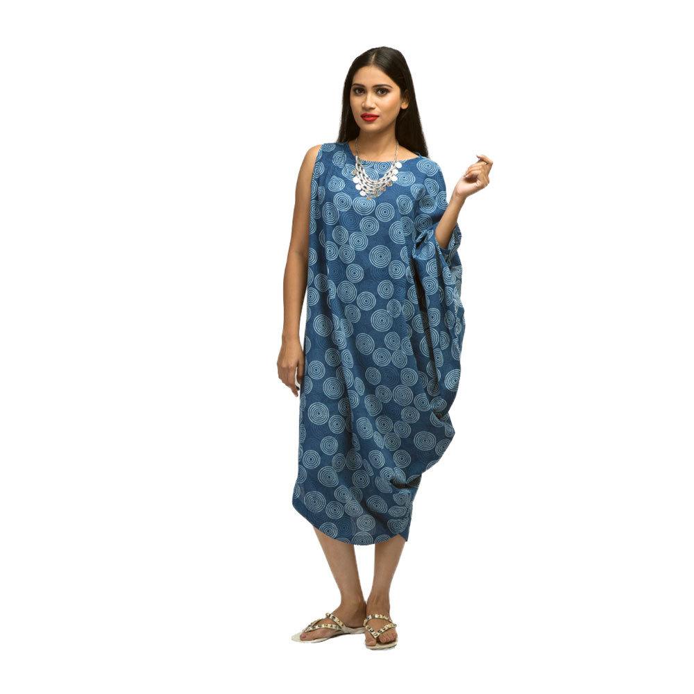 Ladies Indigo Cowl Dress