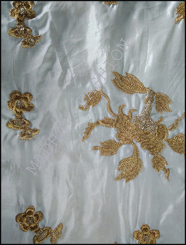 Embroidery Sequence Fabric with Gold Zari Thread