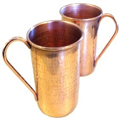Large Hammered Copper Mugs