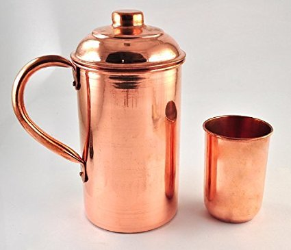 Handmade pure Copper Vessel Drink ware Pitcher and mug set for water india