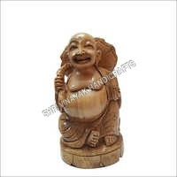 Wooden Happy Laughing Buddha statue
