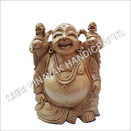 Polished Wooden Laughing Buddha Statue