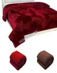 Brown Color Super Soft Embossed Double Bed Mink Blanket (All Weight Available)