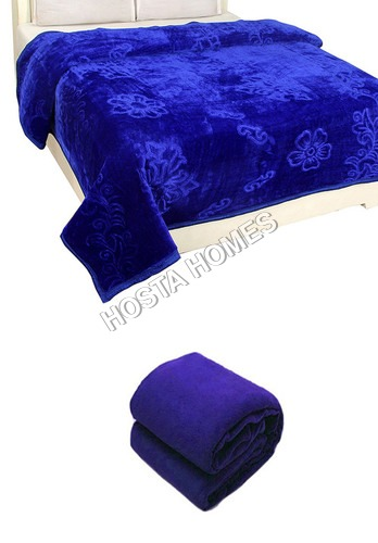 Blue Color Super Soft Double Mink Blanket (All Weight Available)