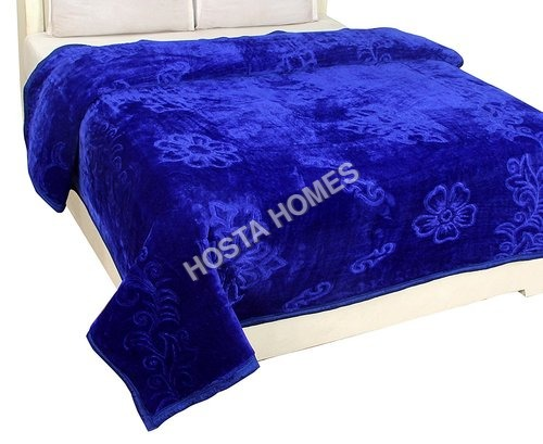 Blue Color Embossed Single Mink Blanket (All Weight Available)