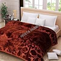 Brown Color Embossed Single Mink Blanket (All Weight Available)